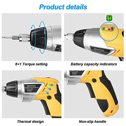 Electric Cordless Screwdriver, NOUVCOO 47Pcs Rechargeable Power Screw Guns with Built-In LED Lights, 7 Torque Settings, 3.6V 1300mAh Li-ion Battery, Complete Accessories for Home DIY