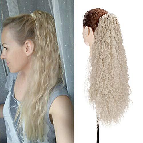 60cm Coda Finta Capelli Corn con Pinza Wave Ponytail Hair Extension Clip Capelli Ricci Coda di Cavallo-Sabbioso Mix Biondo Sbiancante