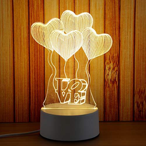 Nachtlampje Lled nachtlampje 3D kleine tafellamp Slaapkamer plug-in Verjaardagscadeau voor vriendin Creatieve ballon (driekleurige knop)
