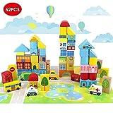 Onshine 62 pièces Blocs de Construction en Bois Jeu De Construction Jouets Puzzle éducatifs pour Enfant
