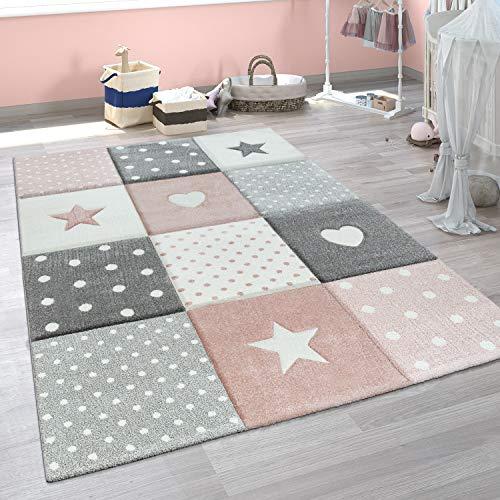 Paco Home Kinderteppich Kinderzimmer Punkte Herzen Sterne Pastell versch. Farben u. Größen, Grösse:Ø 120 cm Rund, Farbe:Pink