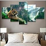 wmyzfs Imágenes de Lienzo Arte de la Pared Decoración para el hogar 5 Unidades Animal Tiger Poster C...