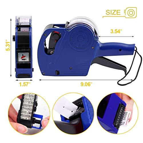Hanguang Labeltang, 1 lijn, 8 tekens, etiketten in detail, wafelset met inktpatronen, voor kantoor, winkel, kruiden Blauw