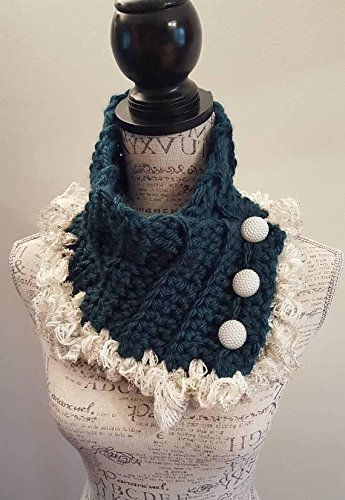 Crochet teal button scarfie. Glitter hints. Made by Bead Gs on AMAZON. Green