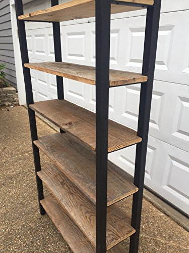 Reclaimed Wooden Bookshelves with Metal Frame