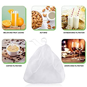 5 Pieces Nut Milk Bag,12 x 12 Inch, Reusable Multi-purpose Food Strainer Bag for Almond Milk, Juices, Oat Milk, Celery… |