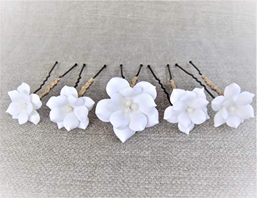 Pack de 5 Horquillas de Flores Blancas con pistilo de caviar. Hecho a