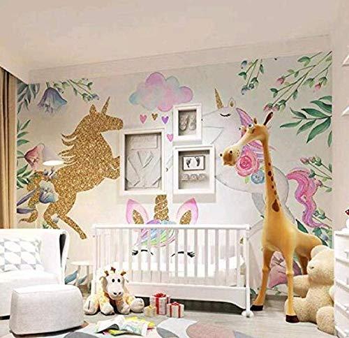 3D vliesbehang foto vlies premium fotobehang textured eenhoorn 3D cartoon hemel behang wandschilderij meisje baby kamer 350*245 350 x 245 cm.