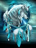 Donnti 5D Diamond Painting Completo Kits Lobo, DIY Kit de Pintura de Diamantes Arte Animal, Rhinestone Bordado de Punto de Cruz Artes Manualidades Lienzo Pared Para Decoración 30x40cm.
