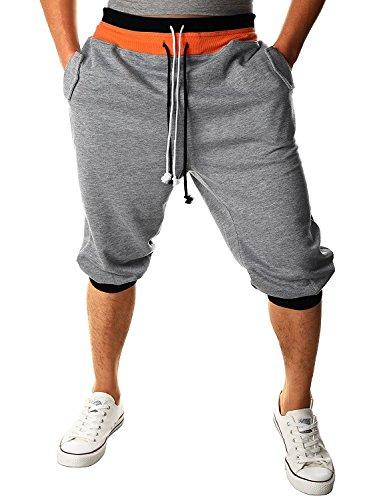 Minetom Herren 3/4 Haremshose Fitnesshose Trainingshose Sporthose Freizeithose Dance Hip Hop Trousers Baggy Jogging Harem Sweat Hosen Jogginghose Loose Crotch Hose (Grau UK XS/EU XS)
