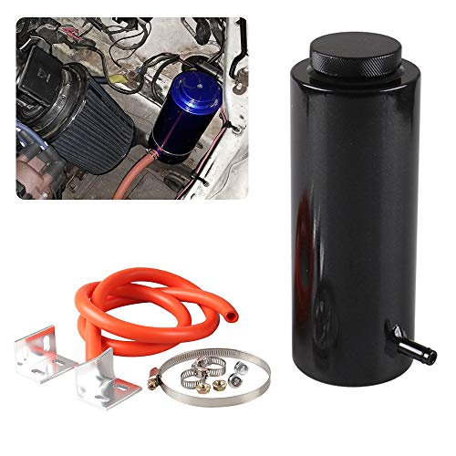 RYANSTAR Universal car Radiator Coolant Tank 800ml Coolant Expansion Tank Overflow Oil Catch Tank Cooling Catch Bottle Reservoir Aluminum Billet Black