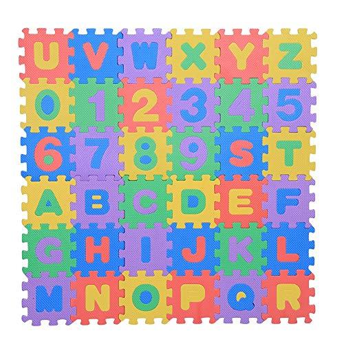 36個入りEVAフォームプレイマット ベビーキッズパズルプレイマット 番号文字クロールパッドのおもちゃ クロール保育園プレイマット12 x 12 cm 子供向けギフト
