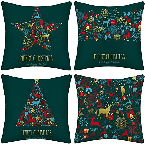 Timagebreze 18X18 Inch Christmas Green Pillow Case Cushion Cover Home Decoration Covers Festive Home Decoration Pillow Cushion Cover