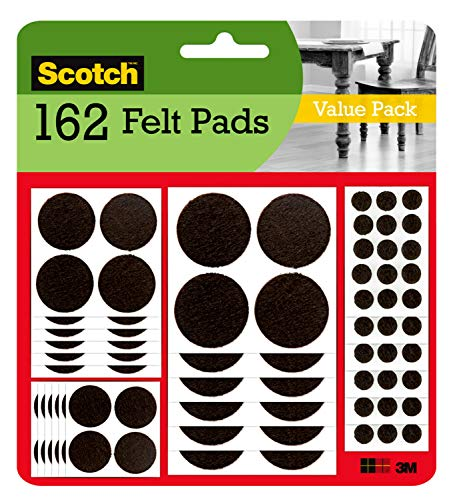 Scotch Felt Pads, Felt Furniture Pads for Protecting Hardwood Floors, Assorted Sizes Value Pack, Round, Brown, 162 Pads