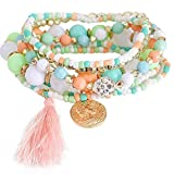 Rokoy 1 Set di Braccialetti Impilabili in Multistrato, Perline Acrilici, Bracciale da Donna con Perline Bracciale Elastico da Donna Bohemien