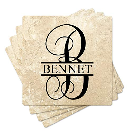 Set of 4  4 Personalized Monogram Absorbent Stone Travertine Square Coasters for Wedding Gift Housewarming Special Occassions Design 3
