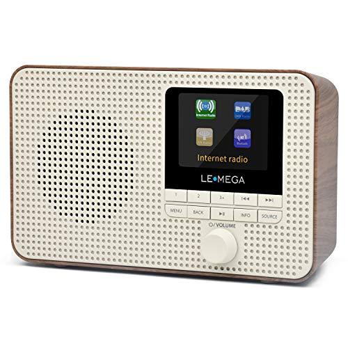 LEMEGA Tragbares WLAN-Internetradio IR1 mit DAB / DAB + / FM-Radio,drahtlosem Bluetooth,Doppelwecker,Sleep- und Snooze-Timer,60 Voreinstellungen,Kopfhörerausgang,Netzbetrieb und Batterien walnuss