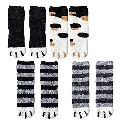 95sCloud 4 Pairs Women Damen Plush Fleece Socks Cat Claws Cute Jungen Madchen Slipper Socks Thick Warm Sleep Floor Socks Fuzzy Slipper Socks flauschige Kuschelsocken Socken Haussocken (B)