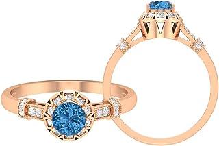 Anillo de zafiro azul ártico de 5,00 mm creado en laboratorio, anillo de compromiso de estilo Art Déco, anillo de compromi...