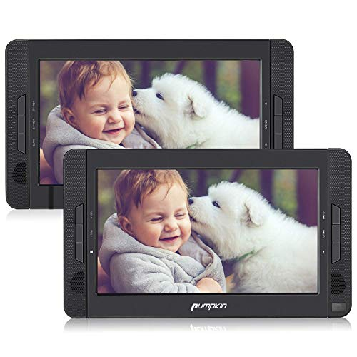 """Pumpkin Lettore dvd auto portatile per bambini, uso per auto e casa, poggiatesta con doppio 10.1""""schermo, supporta usb/sd/mmc, supporta regione free"""