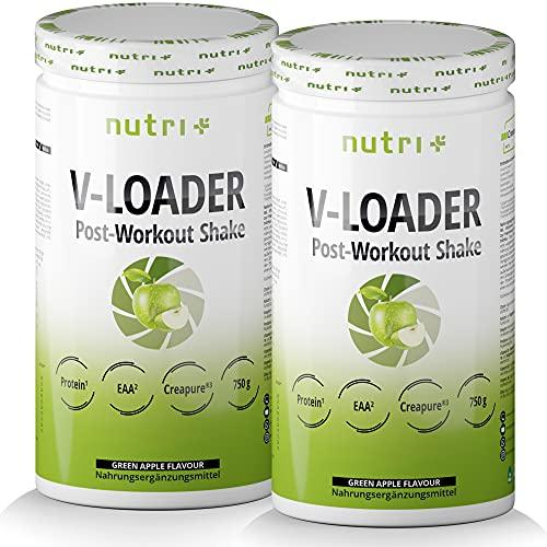 POST-WORKOUT-Shake V-LOADER - Muskelaufbau und Bodybuilding - 1500g Grüner Apfel Pulver - Maltodextrin - Protein-Pulver - EAA - Creapure - Vegan Supplement - Green Apple