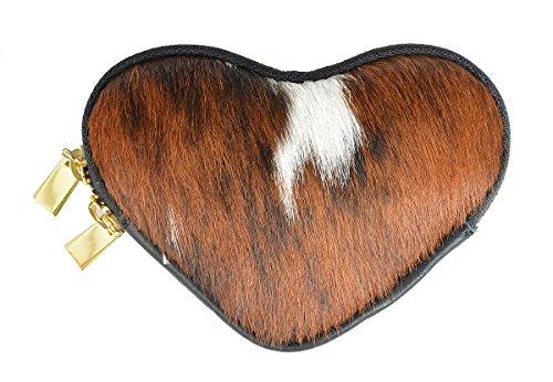 Echtfell Gelbörse in Herzform Damen Trachten Geldbeutel : Kuhfellbörse Herz -- exclusive echt Fell Münz Geldtasche