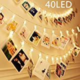 40 LEDs Clips Photos Guirlande Lumineuse Blanc Chaud, SiFar 5M 3 Modes Photo Chaîne...