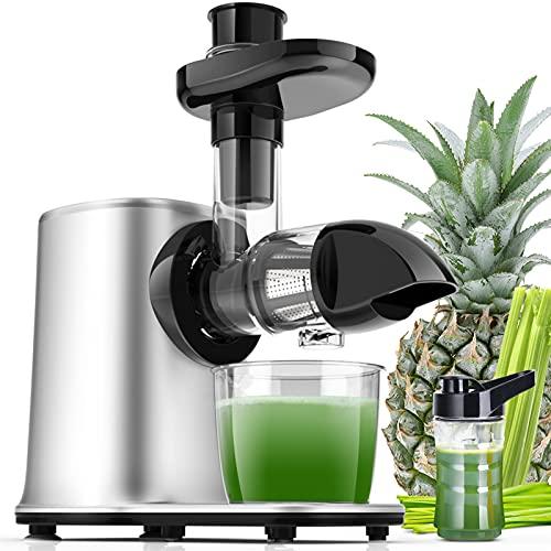 Estrattore di Succo a Freddo 11 in 1 Estrattore Succo Silenzioso con 2 Velocità e Funzione Inversa Pre-Pulizia Senza BPA,PFOA per Erba di Grano Sedano Frutta Succhi con Ricettario e Bottiglia