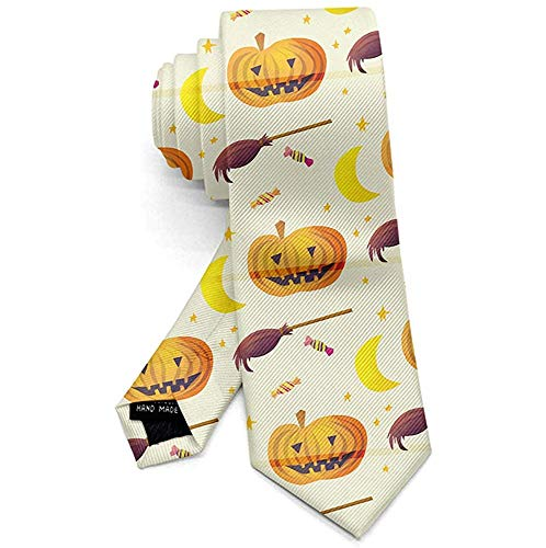 Heren Necktie Kleurrijke Halloween Pompoenen Snoep Bezem Mannen Necktie Voor Party Office Uniform, Lang 145cm X Breed 8cm