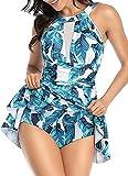 Bañador de 1 pieza con falda push up, acolchado, reductor, bikini falda tankini de cintura alta Beachwear vintage, Hojas azules, M