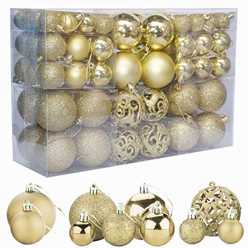 ZFYQ 100Pcs Bolas de Navidad, Juego de Adornos para Colgar Decorativos para Decoración Navideña de Arboles de Navidad, Oro