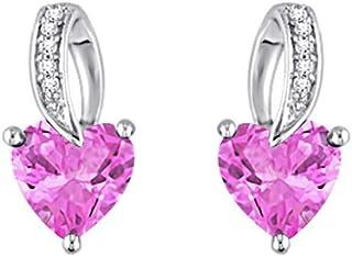 SLV Pendientes de tuerca con forma de corazón de 1,64 quilates y diamantes VVS1 de 3 puntas chapados en oro blanco de 14 q...