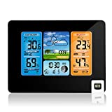 Wireless Weather Station Indoor Outdoor Thermometer, Home Digital Wireless Color Forecast Station Temperature and Humidity Monitor Alerts, Barometer - Black