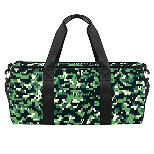 Green Camo Militar Gym Bag para hombres y mujeres Bolsas de fin de semana Deportes Viaje Duffel Bolsa con bolsillo impermeable