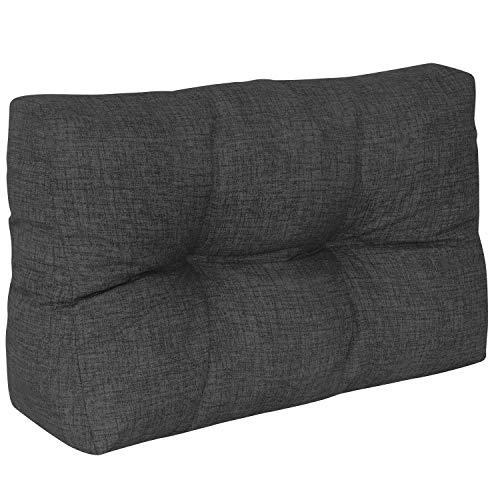 DILUMA | Coussin de Dossier Court 60x40 cm Anthracite | Coussin Comfort pour Sofa Palette Europe résistant aux éclaboussures