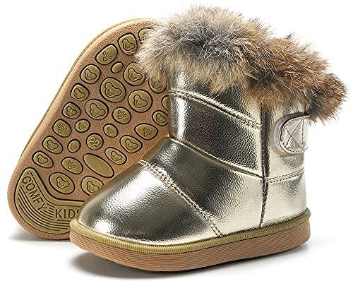 Baby Stiefel Stiefeletten für Mädchen Warm gefütterte Schneestiefel Jungen Schlupfstiefel Rutschfest Winter Boots Schuhe Gold 24 EU =25CN