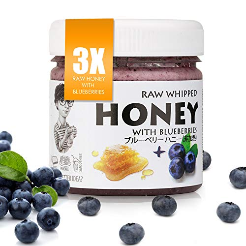 【Amazon.co.jp限定】 非加熱 無殺菌 ハニー セット品 ブルーベリー生はちみつ 3個 Set of 3 blueberry : 3x Raw Honey with Blueberry 200g