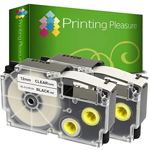 2x Schriftband kompatibel für Casio XR-12X Schwarz auf Farblos (12mm x 8m) für CasioKL-60 70E 100 100E 120 200 200E 300 750 780 820 2000 7000 7200 7400 8100 8200 P1000 C500 L300