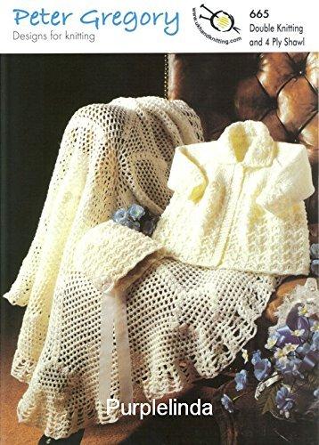 Teddy Knitting & Crochet Pattern 665, Baby's Coat, Bonnet & Shawl, Coat Size 41,46,51cm 16,18,20' Shawl Diameter 114.5cm 45'