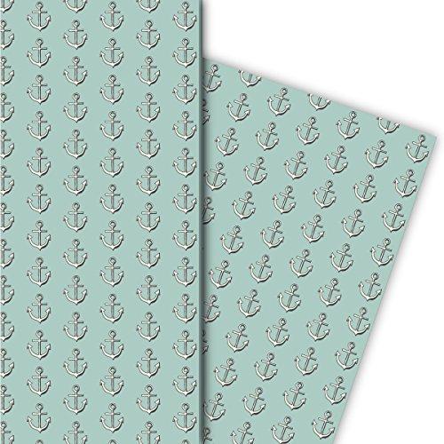 Kartenkaufrausch Nautisches Geschenkpapier Set mit Ankern, hellblau, als edle Geschenk Verpackung, zum Einpacken, Designpapier, scrapbooking, 4 Bogen, 32 x 48cm