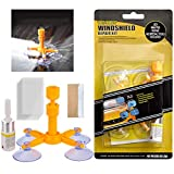 Car Windshield Repair Kit, Window Glass Crack Repair Tool with Pressure Syringes for Fix Glass Windshield Crack Chip Scratch, Half-Moon, Bulls-Eye, Star-Shaped(Upgrade)