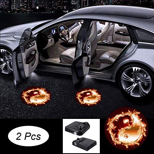 Premium Car Door light Projector 2 Pcs Easy Installed Welcome Laser Projector Pastable Led Logo Light Holeless Magnet Sensor Ghost Shadow Lamp Logos Replacement for All Car Accessory (b-381-bagua)