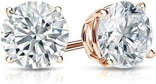 4.00 ct. Aretes redondos con diamante Swarovski Cz Solitaire Stud. Tornillo de canasta de oro rosa de 14K Atrøs
