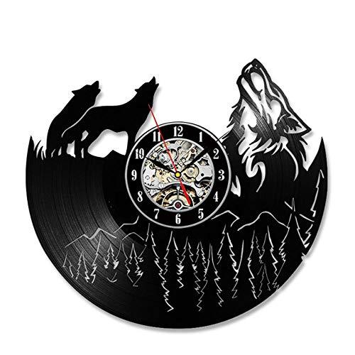 SKYTY Hollow Wolf Modelo Vinyl Record Clock Unique Vintage Dormitorio Decoración De Pared Ideas De Regalo Hombres Y Mujeres Cool Quartz Antique Led Relojes-no led Light
