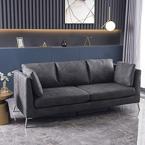 Panana Luxury 3 Seater Sofa Faux Leather/Fabric Sofa Settee Couch for Living Room Office Lounge (Grey Leathaire)