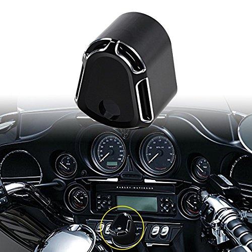 KATUR CNC Zündschloss Abdeckung Motorrad CNC Zubehör Edge Cut Billet Aluminium Kompatibel für Harley Touring Street Road Glide 2007-2013 (Schwarz)