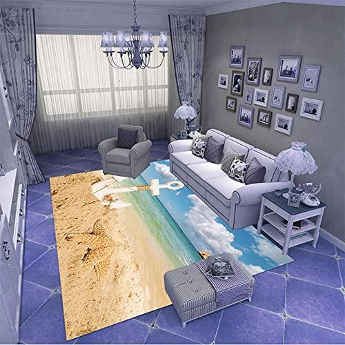 Alfombra Salon,Lavable Antideslizante De Pelo Corto Alfombras,Adecuado para NiñOs Dormitorio DecoracióN para El Hogar Moqueta Rectangular 160X230CM Ancla de Playa Junto al mar