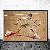 Cadeau Haut Joueur de Tennis Sport étoile Affiche Art Mural Impressions sur Toile Peinture à l'huile Photo pour Salon et décor à la Maison