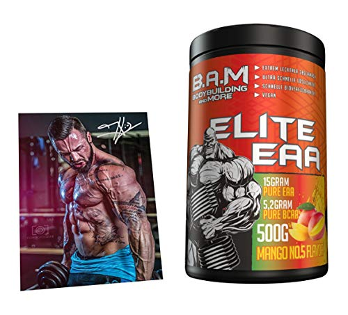 B.A.M. Elite EAA Aminosäure Amino Muskelaufbau Rein Muskelerhalt Fitness Bodybuilding 500g (Mango No.5)…