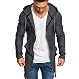 NIUQI Men Splicing Hooded Solid Trench Coat Jacket Cardigan Long Sleeve Outwear Blouse